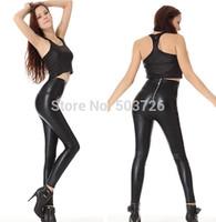 Free Shipping High Waist Zipper Back Faux Leather Leggings Women Stretch Slimming Pants