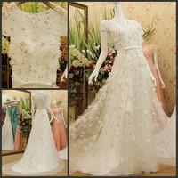 Luxury Romantic O-nenck A-line Princess White Flower Bowknot Sweep Train Wedding Dress Crystal Bridal Gown(XNE-WD075)