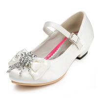 2014 New Girls Wedding Shoes Satin Flower Girls' Wedding Flat Heel Comfort Flats with Rhinestone Shoes(More colors) JYG628