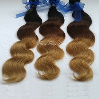 malaysian body wave Ombre hair extensions1b/4/27 color human hair weave remy hair extension free shipping