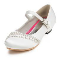 2014 New Girls Wedding Shoes Satin Flower Girls' Wedding Flat Heel Comfort Flats with Rhinestone Shoes(More colors) JYG630