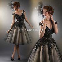 Vintage Style Black Lace Appliques Tea Length Wedding Dresses Princess Bridal Gowns 2014