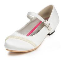 2014 New Girls Wedding Shoes Satin Flower Girls' Wedding Flat Heel Comfort Flats with Rhinestone Shoes(More colors) JYG623