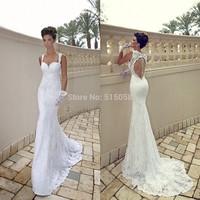 Sexy Spaghetti Straps Open Back Lace Wedding Dresses Mermaid Bridal Gowns 2014 New Vestidos De Novia