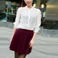 2014 Autumn Ladies' Chiffon Blouse Snow Print Front Short Back Long Style Long Sleeve O-Neck Shirt Femininas Blusa SAE61