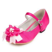 2014 New Girls Wedding Shoes Satin Flower Girls' Wedding Flat Heel Comfort Flats with Rhinestone Shoes(More colors) JYG632