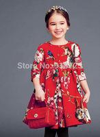 2014 Brand Design Girls Dress High-End European American Children Clothing Floral Christmas Dress Princess 3-12T Teenage