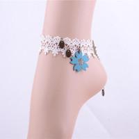 Blue flower foot bracelet women corrente de ouro foot jewelry tornozeleira ankle bracelets for women free shipping