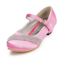 2014 New Girls Wedding Shoes Satin Flower Girls' Wedding Flat Heel Comfort Flats with Rhinestone Shoes(More colors) JYG633