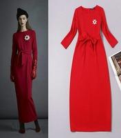 2014 fashion rhinestone brooch three quarter sleeve design pure red color elegant cotton long dress