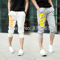 New Arrival 2014 Fashion Wear Men's Casual Short Pants Cotton Slim Print Men Sport Shorts Free Shipping