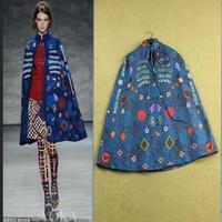 2014 desiger fashion digital print cape coat vintage cape coat manteaux womens