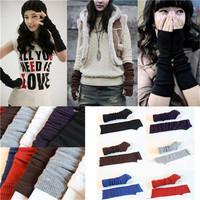 Fashion 1pair Women Long Knitted Crochet Braided Wrist Hand Arm Winter Warmer Mitten Fingerless Gloves Mittens Free Shipping