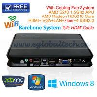 Cheapest HTPC Mini Home Computer Barebone PC APU AMD E240 1.5Ghz With Fan Support XBMC Openelec Windows Ubuntu DHL Free Shipping
