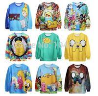best quality Harajuku 2014 Hot Sale New Punk Women Sweatshirt 3D Print Adventure Time Casual Hoodies women pullover