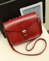 FREE SHIPIING Wholesale 2014 new shoulder diagonal handbags British retro bag small messenger bag wine red tide