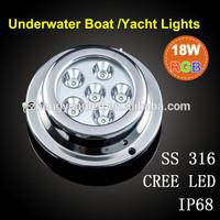 Free Shipping Cree RGB led boat light, IP68 waterproof underwater boat led light for boat lamping