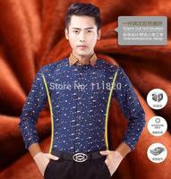 Brand New Mens Shirts Casual Business Men's Luxury Dress Shirts 2014 Mens Slim Fit Unique Neckline Stylish Long Sleeve Shirts