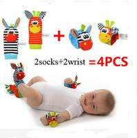 Baby 0-12 Months Educational toys 4pcs=2 pcs waist+2 pcs socks lot,baby rattle toys Sozzy Garden Bug Wrist Rattle and Foot Socks
