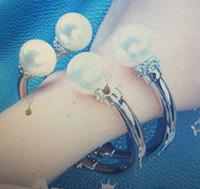 Personalized luxury flash crystal pearl bracelet joints opening gold silver bracelet