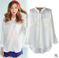 Free Shipping 2014 Autumn Women tops Hollow rotator cuff curved hem stitching lace chiffon blouse shirt