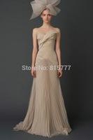 Modest A-Line Sweetheart Chiffon Court Train Pleated Champagne Wedding Dresses