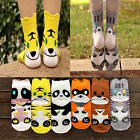2014 Autumn Hot High quality  women Cotton socks Three-dimensional Cartoon cute Animal socks Female Zoo Series socks