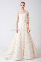 Distinctive A-Line High Neck Court Train Lace Short Sleeves Wedding Dresses Bridal Dresses