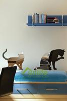 Funlife Modern Cartoon Cats Reflective Chrome Mirror-like Wall Stickers Acrylic Wall Mirror For Nursery Kids Room RFS029