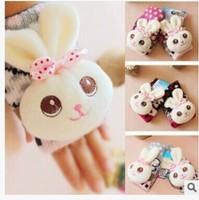 Min Order $15(mixed order) 2014 Winter fashion Cartoon  Rabbit head  Ms  Warm Knitting  Wool Gloves  Half finger gloves 2618Bmx