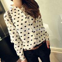 2014 Ladies Casual Blouse Love Pattern Print Long Sleeve Lapel Loose Shirt Femininas Blusa AE68