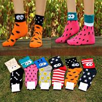 2014 Autumn New Hot Sale High quality  women 100% Cotton socks Women's Cute Cartoon socks smile expression Flaps socks