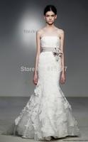 New Fashion Satin Sash Floor Length Lace Appliques Mermaid Strapless Wedding Bridal Dresses