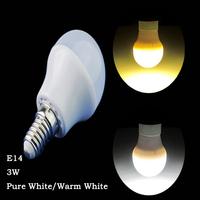 6 Pcs/lot E14 screw 3W Pure White/Warm White Plastic Shell Bulb AC220V-240V Lamp Indoor Energy Saving LED Light