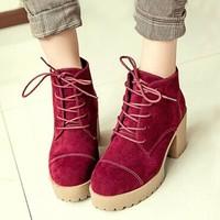 Hotsale! 2014 PU velet flock women's boots Fashion autumn Lady casual shoes platforms for winter