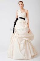Charming A-Line Black Sash Court Train Taffeta One Shoulder Wedding Dresses Bridal Gowns