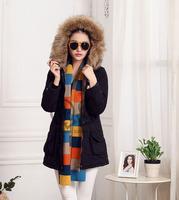 New 2014 Jacket Winter Coat Thicken Slim Female Fur Collar Long Coat Women Parka Coat with hood S-2XL