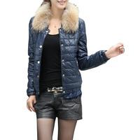 2014 free postage new fashion ladies winter fur collar Slim Down coat jacket type jacket