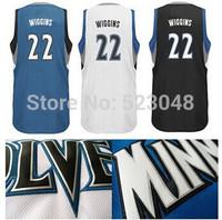 Retail 2014 #22 Andrew Wiggins rev 30 basketball jerseys, men's blue black white basketball shirts stiching logos.free shipping.