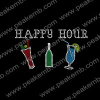 Free Shipping 50Pcs/Lot Happy Hour Rhinestone Wine Design T Shirts Wholesale Hot Fix Motifs For Clothes Decoration