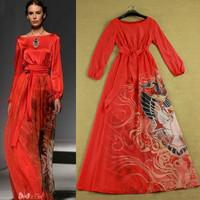 Red Slim Expansion Bottom Elegant Square Collar Lantern Sleeve Desinger Maxi Long Evening Party Dress