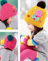 5pcs/lot Sweet girl woolen hat baby winter warm caps 2-6years Free shipping