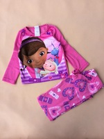 New Free shipping 5 sets/lot 4-10T Muffin Little Doctor Girls Polar Fleece Fabrics Pajamas Suit Soft Sleeping Nightwear