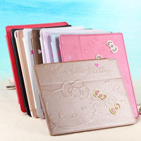 Ultra Thin Cute Cartoon Leather Magnetic Case Smart Cover for iPad 4 2 3 Tablet Case Bow-Knot Stand Bag for iPad 5 Air Red Pink