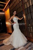 Wonderful Sweetheart Court Train Lace Appliques Mermaid Bridal Dresses Wedding Gowns