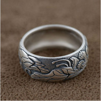 SY20415 100% real pure 925 sterling silver ring women/men silver luxury lotus ring silver jewelry lover best gift free shipping