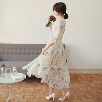 2015 Fashion Dress Fairy  Long Sleeve Ankle-length Chiffon Dresses Round Collar Free Shipping H25024