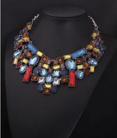 Ultra-luxury European and American big fashion color geometric crystal  necklace exaggerated retro short clavicle
