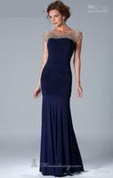 Wholesale  2014 Hot sale Bateau Mermaid Sweep spandex Cap sleeves Dark Navy Mother of the bride dresses Evening gown Newest