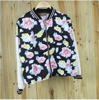 2014 New EuropeHarajuku style baseball uniform jacket flower embroidery loose chiffon sleeve coat Autumn woman hoodie jacket